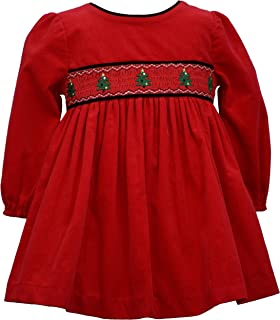 Baby Girl's Holiday Christmas Dress - Red Smocked Corduroy for Baby and Toddler and Little Girls