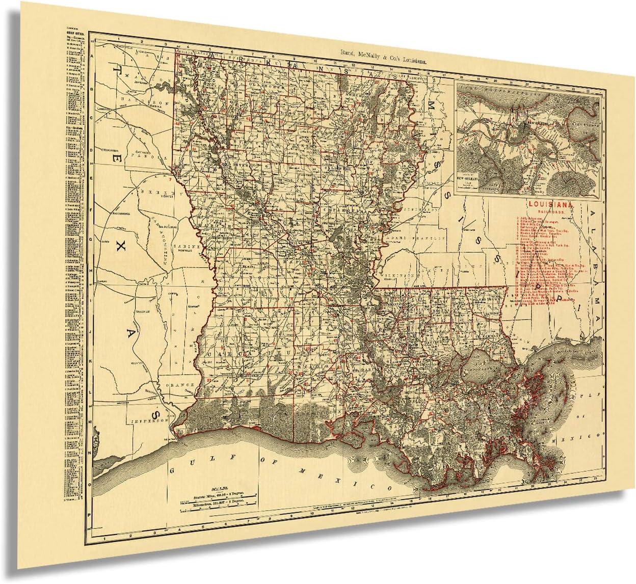 Buy Historix Vintage 20 Map of Louisiana   20x20 Inch Vintage ...