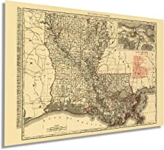 Historix Vintage 1896 Map of Louisiana - 24x36 Inch Vintage Map of Louisiana Wall Art - Old Louisiana Wall Map Indexed Sho...