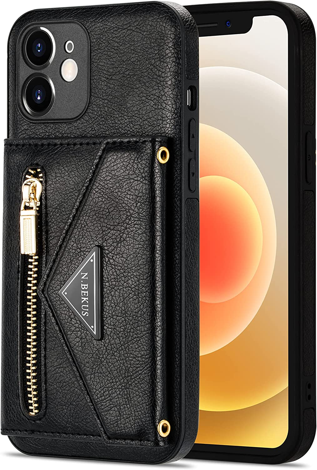 Crossbody Wallet Case for Samsung Galaxy Note 20 Ultra with Card Holder, Zipper Back Flip Card Slot Protector Shockproof Purse PU Leather Cover with Removable Cross Body Strap (Black)