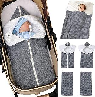 ABirdon Neugeborene Babywickeldecke Dicker warmer Kinderwagen Strickdecke Plus Samtschlafsack f/ür M/ädchen oder Jungen grau