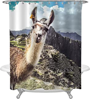MitoVilla Cusco Animal Llama Bathroom Decor, Close Up of Alpaca Face in Front of Machu Picchu Ruins in Peru, Ancient Landmark Shower Curtain Set, Mountain and Cloud Backdrop Decorations, 72x72, Multi