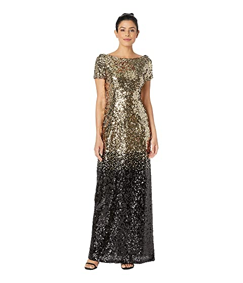 MARINA Long Ombre Sequin Dress With Short Sleeves And V-Back, Gold/Black