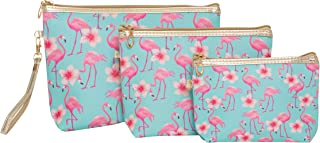 Flamingo Makeup Bag Travel Set of 3 With Zippers. Great Cosmetic Case Organizer for Handbag, Purse, Luggage or Backpack.