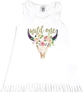 Wild One Girls 1st Birthday Dress Bull Skull Boho 1st Birthday Dress Glitter Gold Wild One 1st Birthday Outfit Girls