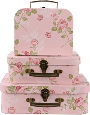 Anndason Set of 3 Paperboard Suitcases Storage Box Decorative Storage Boxes Storage Gift Boxes With Lids for Photo Storage Ho