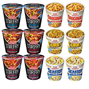 Nissin Cup Noodles Multiple Variety Packs, Original, Seafood, Curry, Korean BBQ, Sweet Chili, and Teriyaki Beef (Pack of 12)
