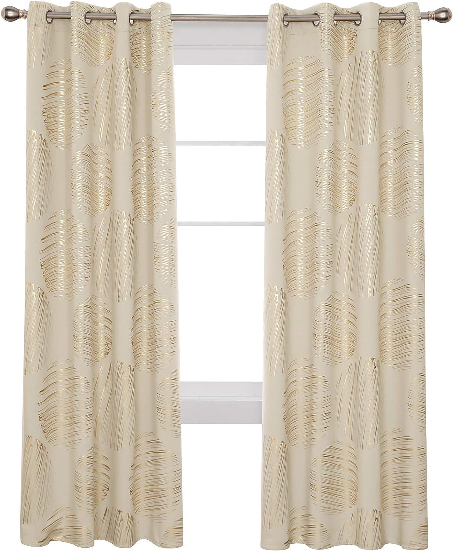 Special sale item Deconovo Light price Beige Blackout Curtain Gold Patterned Print Foil