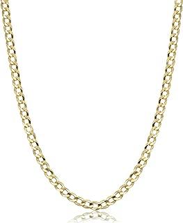 Kooljewelry Men's or Women's 10k Yellow Gold 3.6 mm Curb Link Chain Necklace
