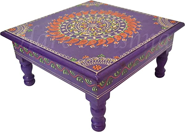 Ethnic Hand Painted Wooden Furniture Chowki Bajot Side Low Table Purple 11 X 11 X 5 5 Inches