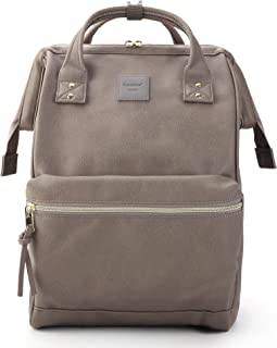 Leather Backpack Diaper Bag with Laptop Compartment Travel School for Women Man (Gray, Large)