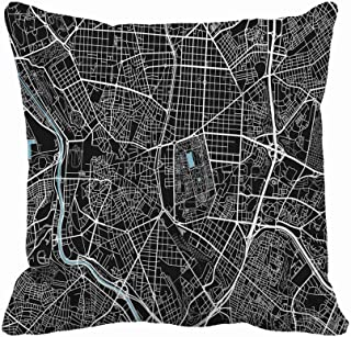 Awowee Throw Pillow Cover Black and White City Map of Madrid Well Organized 20x20 Inches Pillowcase Home Decorative Square Pillow Case Cushion Cover
