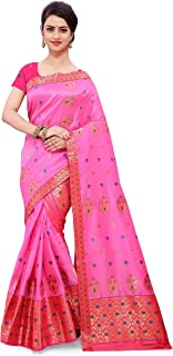 SKiran's Assamese Machine-Weaving Soft Poly Silk Mekhela Chador Saree - Dn7101 Mekhla Sador (Pink and Rani)