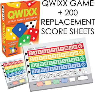 Qwixx [Expansion Bundle] - A Fast Family Dice Game + Includes 200 Quixx Replacement Score Cards / Sheets by Gamewright