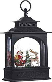 Lighted Santa Claus and Sleigh Christmas Water Snow Glitter Globe Lantern Decor, 11 Inch, Battery Operated with Timer