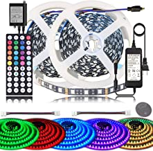 BIHRTC LED Strip Lights 600leds 32.8ft 10M RGB SMD 5050 LED Rope Lighting Color Changing LED Tape IP20 Non Waterproof with 44 Keys IR Remote Controller UL Power Supply for Home Kitchen Bedroom Decor