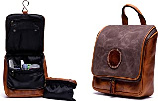 RAW HYD Waxed Canvas & Leather Travel Hanging Toiletry Bag For Men | Vintage Dopp Kit for Toiletries & Bathroom Organizer/Water Resistant Travel Accessories Bag That is THE Perfect Gift (Olive Green)
