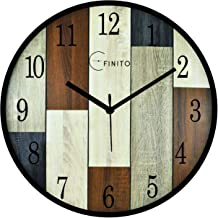 Efinito 14 Inch Classique Wooden Wall Clock for Home/Kitchen/Living Room/Bedroom/Office - (Silent Movement, Black Frame)