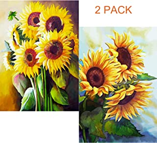 BOHADIY 2 Pack DIY 5D Diamond Painting by Number Kit for Adult, Sunflowers Full Drill Crystal Rhinestone Embroidery Cross Stitch Diamond Embroidery Dotz Kit Home Wall Decor