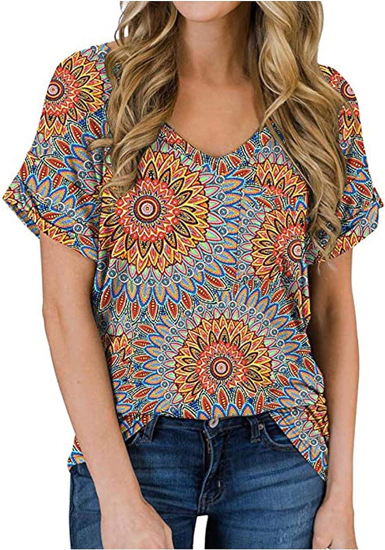 GOODTRADE8 Summer T Shirts Women Fashion Casual Print V-Neck Poket Short Sleeve Top Blouse Pullover