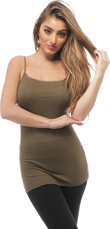 Plain Long Spaghetti Strap Tank Top Camis Basic Camisole Cotton (Medium, Olive Green)