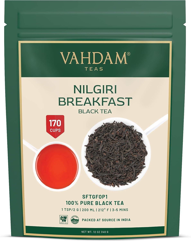 VAHDAM, té negro Nilgiri Breakfast (150+ Copas) | Hojas de té negro 100% PURO | Té inglés ROBUST & FLAVORY | Té negro hojas sueltas té | Kombucha Tea & Chai Latte | 340gr