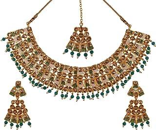Efulgenz Indian Bollywood Gold Plated Kundan Crystal Pearl Wedding Choker Necklace Earrings Maantikka Jewelry Set