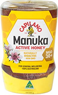 Capilano 100% Australian Manuka Active Honey MGO 30+, Naturally Bioactive NON GMO Manuka Honey, 12 Ounce (340 Grams) Upside Down Squeeze & Release Bottle
