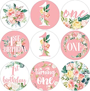 Pink Floral 1st Birthday Party Favor Labels - 180 Stickers
