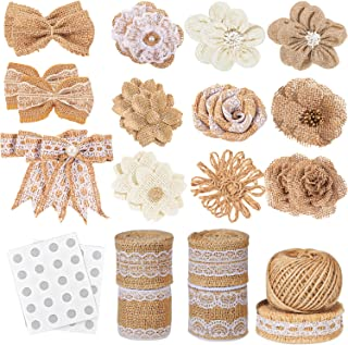 Whaline 30PCS Burlap Flowers Set, Include 5 Lace Burlap Ribbon Rolls, 24 Handmade Burlap Flowers and Bowknots, 1 Twine Rib...