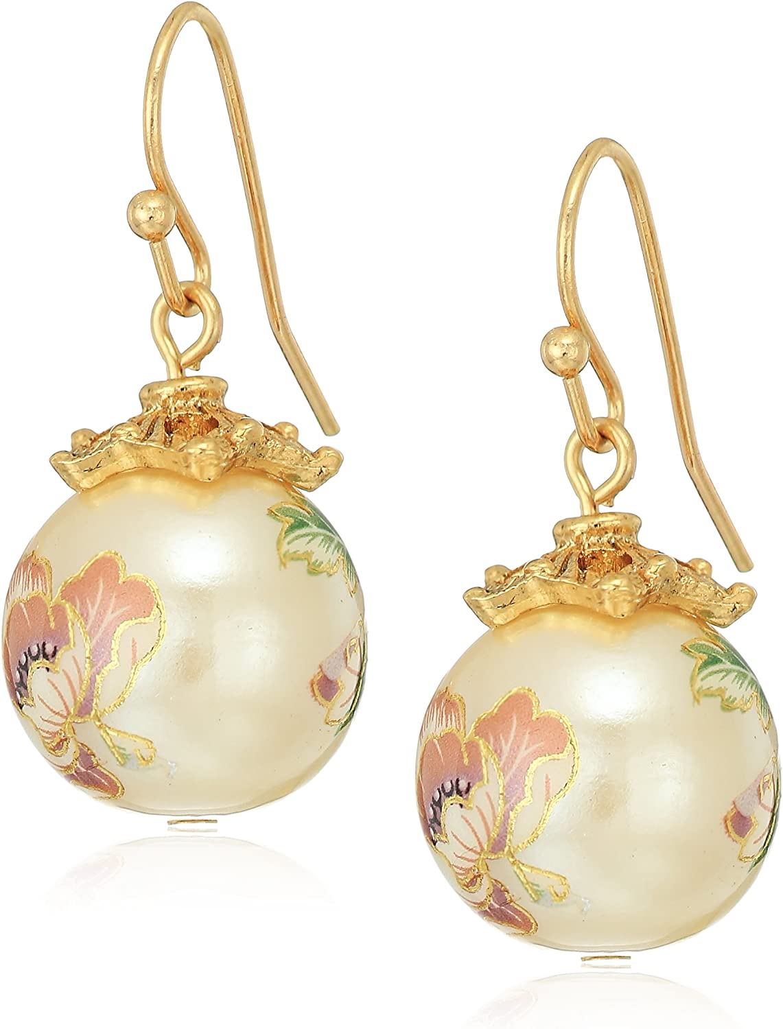 1928 Jewelry Womens Gold Tone Floral Pearl Decal Wire Drop Earrings, Multi, 1.5
