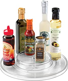 """InterDesign Linus Lazy Susan Cabinet Turntable - 2-Tier Organizer Tray for Kitchen Pantry or Countertops - 11"""", Clear"""