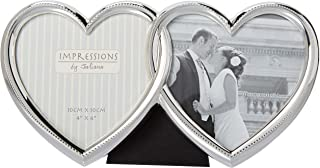 Haysom Interiors Gorgeous and Unique Double Heart Silver Plated Picture Frame Set by Happy Homewares