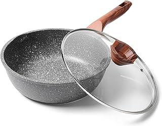 ilimiti 24cm avec couvercle Poêle à frire profonde, Poêle à frire anti-adhésive 24cm avec couvercle, Convient à tous les t...