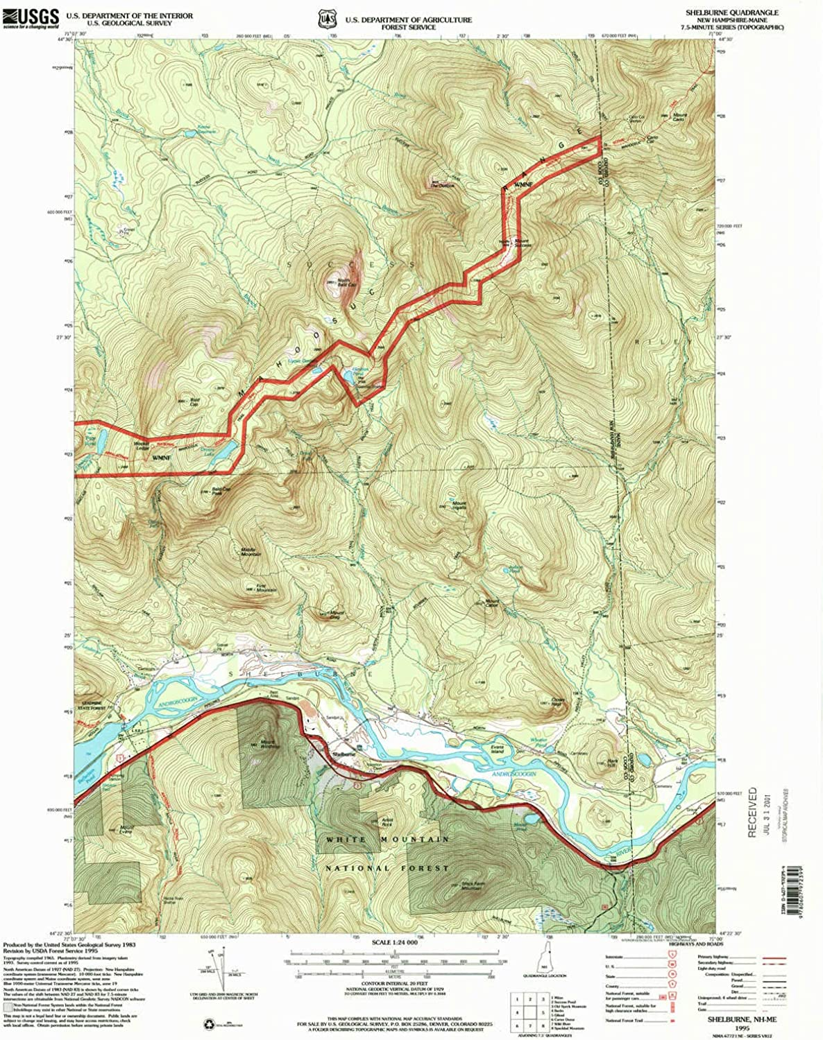 Shelburne NH topo map, 1 24000 Scale, 7.5 X 7.5 Minute, Historical, 1995, Updated 2001, 26.8 x 21.6 in