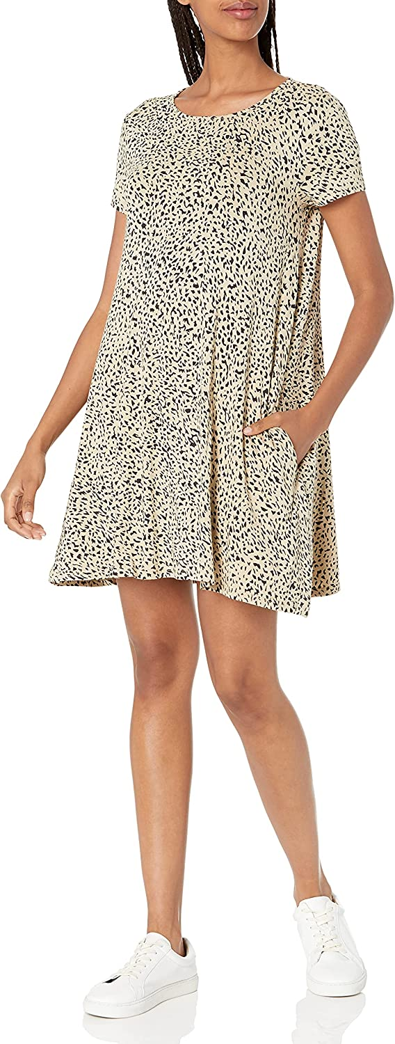 Volcom Women's High Wired Trapeze Style Animal Print Knit Dress
