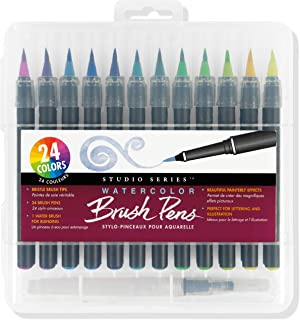 Studio Series Watercolor Brush Marker Pens (set of 24, plus bonus water brush), Great for Hand Lettering, Callgraphy, Manga, Comics, Adult Coloring Books, Journals and all DIY Drawing Art
