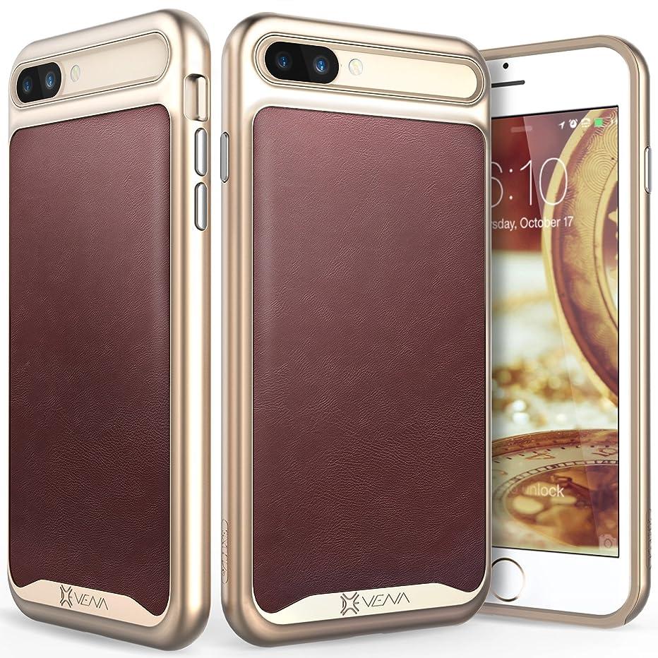 iPhone 8 Plus Leather Case, iPhone 7 Plus Case, Vena [vLuxe][Carbon Fiber Leather Back | Metallized Button] Slim Protective Cover for Apple iPhone 8 Plus/7 Plus (5.5