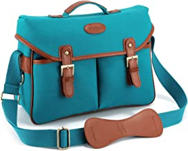 Kattee Fashion PU Leather Canvas DSLR Mirrorless Camera Shoulder Bag for Canon Nikon, etc (Large, Blue)