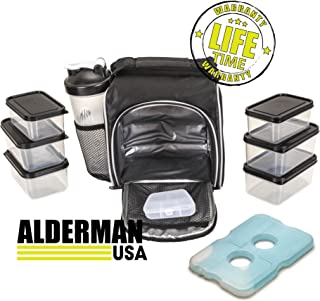 Alderman USA Portion Control Meal Prep Bag and Container Set with Shaker Cup, 6 Portion Control Containers, Ice Pack and Vitamin Box