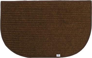 Heart Home D-Shape Durable Microfiber Door Mat, Heavy Duty Doormat,(14'' x 23'', Brown)-HEART12177, Standard