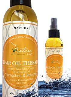 Best Natural Hair Oil Therapy -100% Organic & Natural Argan, Lavender, Castor, Olive, Almond Oil – Anti Wrinkle, Moisturizer for Skin, Hair, Scalp, Beard, Cuticle, Nails & Foot - Nature Lush 5.07oz