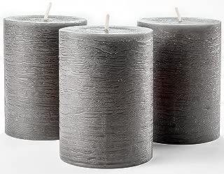 Set of 3 Charcoal Pillar Candles Dark Grey 3