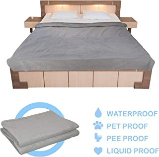 Large Waterproof Blanket for King Beds, Queen Beds, Sofa and Couch Protection or Outdoor Use. 90 x 76 Inch Fleece Blanket for Water, Pee, Liquid, Dog, and Pet Proof Protection
