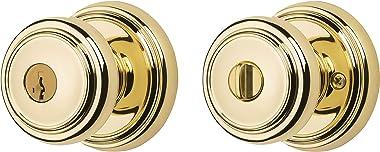 Baldwin Prestige Alcott Entry Knob featuring SmartKey in Lifetime Polished Brass