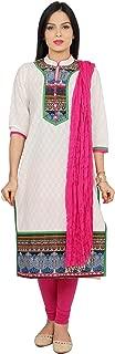 Rama Women's Cotton Suit Set of Printed Kurta and Pink Legging & Dupatta