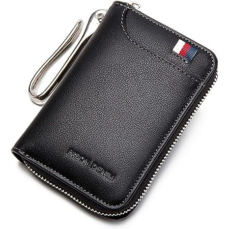 BISON DENIM Genuine Leather Key Wallet Protective Key Case for Car Keychain Money Card Wallet Key Organizer Bag for Men and Women, Black