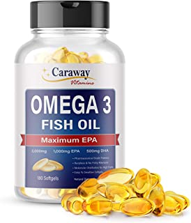 Omega 3 Fish Oil 2,000mg- Pharmaceutical Grade. 1000mg EPA 500mg DHA. Burpless Capsules with No Fishy After...