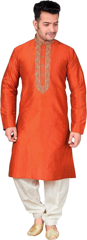 Desi Saris para Hombre Salwar Kurta Pijama Traje de Bollywood 1849 (XXXL (Cofre- 46 Pulgadas), Naranja quemada): Amazon.es: Ropa y accesorios