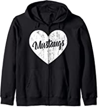 Mustangs School Sports Fan Team Spirit Mascot Heart Gift Zip Hoodie